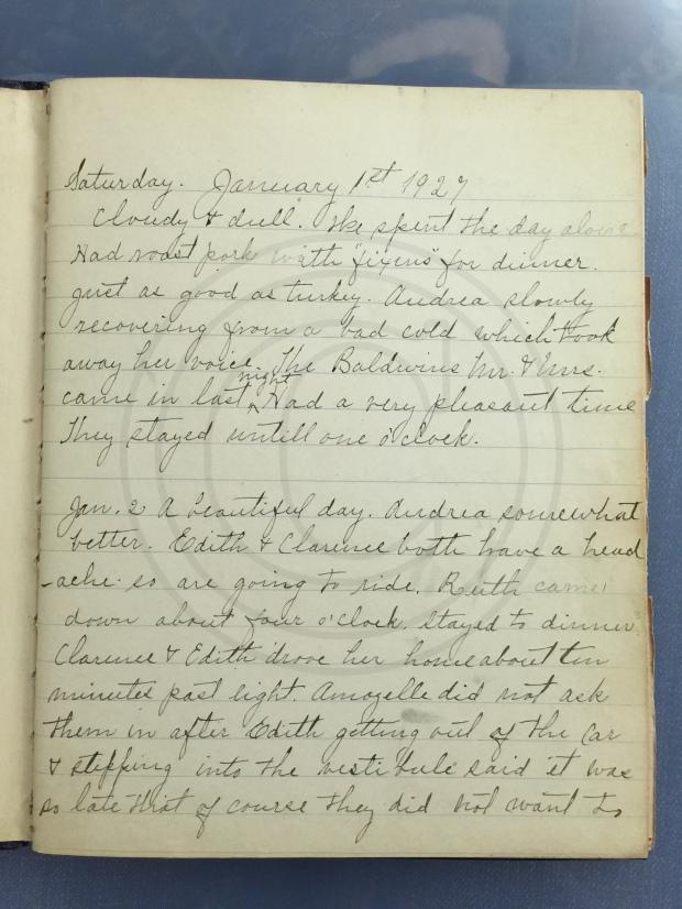 1927.01.01-02 - Annie F Morris diary